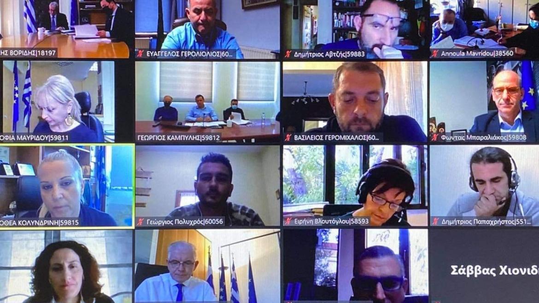 Ο Δήμαρχος Δίου-Ολύμπου Βαγγέλης Γερολιόλιος στην τηλεδιάσκεψη με τον Υπουργό Αγροτικής Ανάπτυξης Μάκη Βορίδη για τα προβλήματα των καστανοπαραγωγών