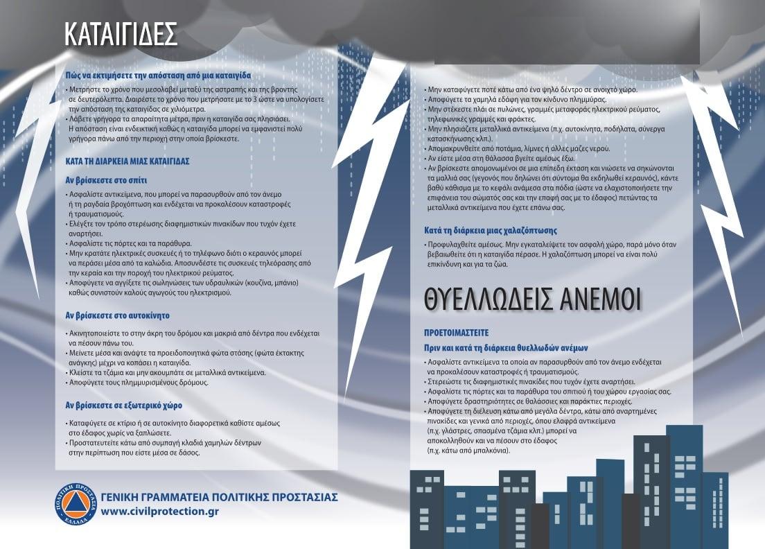 Οδηγίες Πολιτικής Προστασίας για την ασφαλή αντιμετώπιση καταιγίδων
