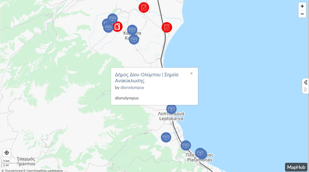 Χάρτης σημείων ανακύκλωσης στον Δήμο Δίου-Ολύμπου