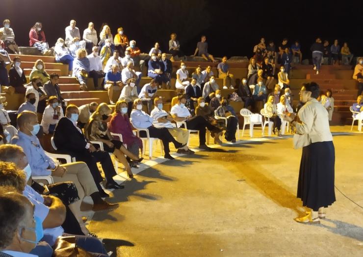 Ομιλία της καθηγήτριας Μαρίας Ευθυμίου αφιερωμένη στην Ελληνική Επανάσταση του 1821 στο ανοιχτό θέατρο του πάρκου Λιτοχώρου