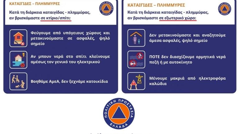 Οδηγίες του Υπουργείου Κλιματικής Κρίσης και Πολιτικής Προστασίας ενόψει κακοκαιρίας (καταιγίδες / θυελλώδεις άνεμοι)